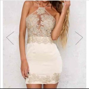 LF Gold Lace satin Dress (NWT)